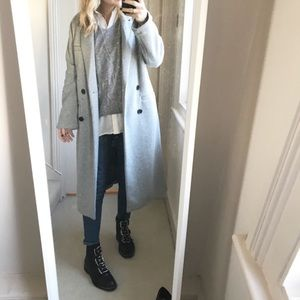 Zara Double Breasted Coat Light Grey size XS